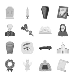 Funeral ceremony set icons in monochrome style vector