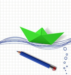 Green paper boat on the water surface which is vector image vector image
