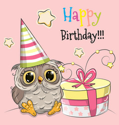 greeting card cute owl with gift vector image vector image