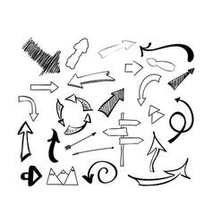 hand drawn sketch doodle arrows set vector image vector image