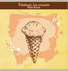 hand drawn sketch ice cream cone vector image