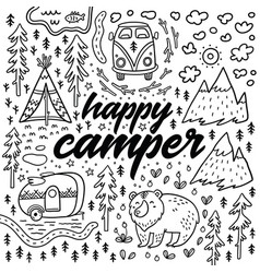happy camper hand drawn card cartoon vector image