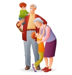 Happy grandparents with their cheerful vector image