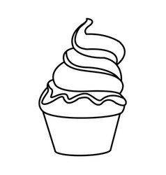 Ice cream fresh cold sweet outline vector