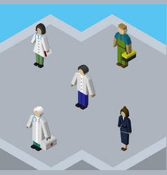 isometric human set of plumber businesswoman vector image vector image
