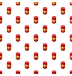 Jar of strawberry jam pattern cartoon style vector