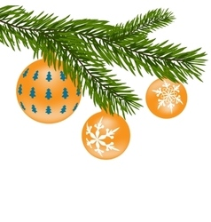 New year or christmas toys firtree branch with vector