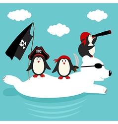penguins pirates swim on polar bear vector image vector image