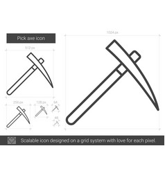 Pick axe line icon vector