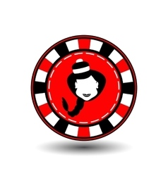 Poker chip christmas new year girl santa claus in vector