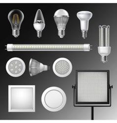 Realistic led lamps set vector