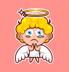 Sticker emoji emoticon emotion beg ask pray vector