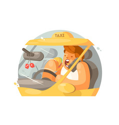 Taxi driver driving vector