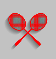 Tennis racquets sign red icon with soft vector