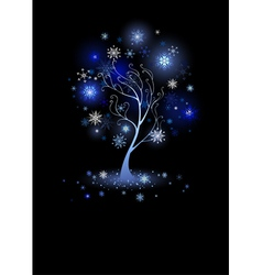 tree with snowflakes vector image
