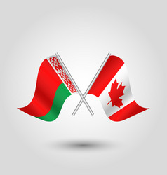 Two crossed belarusian and canadian flags vector