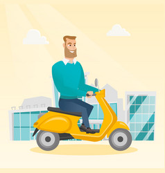 Young caucasian man riding a scooter vector