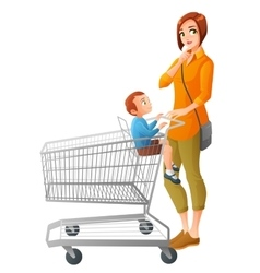 Thoughtful mother with son sitting in shopping vector