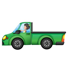 A green car driven by a girl vector image