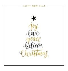Joy love peace believe christmas gold text vector