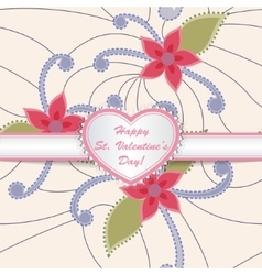 Happy St valentines day card with heart on ribbon vector image
