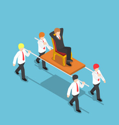 Isometric businessman carrying his boss vector