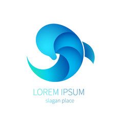 blue dolphin sea icon logo of tourism resort vector image