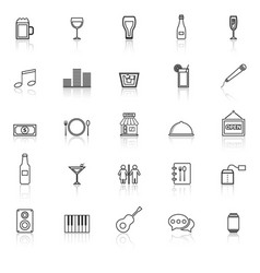Bar line icons with reflect on white background vector