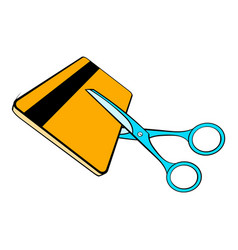 Scissors cut credit card icon cartoon vector