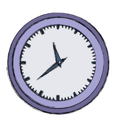 Hand drawing color wall clock in purple thick vector