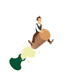 funny concept - a man flying on the cork vector image