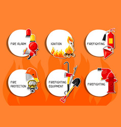 Stickers with firefighting items fire protection vector