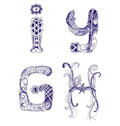 Hand-drawn letters h i g y vector