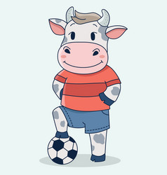 Cute football soccer cow playing vector