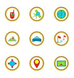 location icons set cartoon style vector image