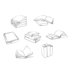 School and library books set vector