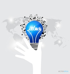 Hands holding light bulb with application icon vector