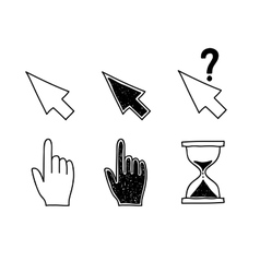 Hand drawn mouse cursors icons pointers arrow vector