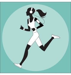 Girl athlete to jog music smartphone vector
