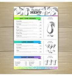 Vintage cocktail menu design document template vector