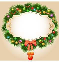 Background with fir branches christmas balls and g vector