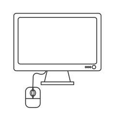 Computer monitor and mouse icon vector