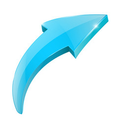Arrow blue shiny 3d icon vector