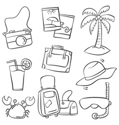 art summer object of doodles vector image vector image