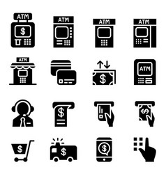 atm icons vector image vector image