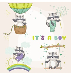 Baby shower card - with baby racoon vector