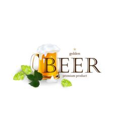 beer emblem logo label design with mug and hops vector image vector image