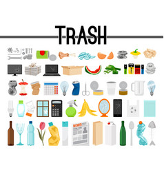 Big collection of trash and garbage vector