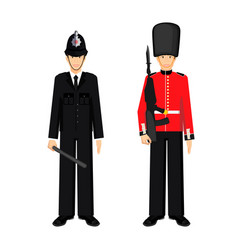 british guardsman and uk policeman vector image vector image