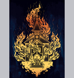 Burning church flash tattoo dot work art vector